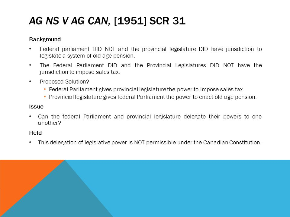 AG NS v AG Can, [1951] SCR 31 Background